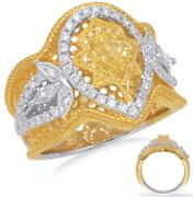 Large 1.01ct White And Fancy Yellow Diamond 14k 2 Tone Gold Multi Shape Crown Ring