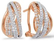 .85ct Diamond 14kt White And Rose Gold 3d Multi Row Criss Cross Clip On Earrings
