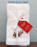Set/4 Williams-sonoma Twas The Night Before Christmas Embroidered Dinner Napkins