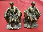 Vintage Lincoln In Chair Bookends Brass Copper Circa Americana Honest Abe
