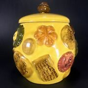 Vtg Cookies All Over Cookie Jar Yellow / Mustard Los Angeles Potteries 1950's