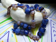 A Rare Strand Of Antique Hand Cut Russian Blue Old Oparte Saphiret Trade Beads