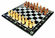 12x12 Exquisite Collectible Marble Stone Pietra Dura Chess Board Set Table Top