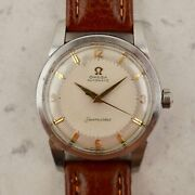 C.1958 Vintage Omega Seamaster Automatic Honeycomb Dial Watch Ref. 2848 In Steel