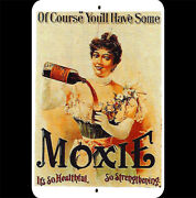 Vintage Metal Sign 8x12 Moxie Soft Drink Cola 1890 Woman Pouring Bottle Glass