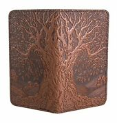 Tree Of Life Embossed Genuine Leather Checkbook Cover, 3.5x6.5 Inches, Saddle