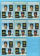1964 Topps 146 Lot Of 8 Tommy John Indians Rookie Baseball Cards Vg - Nm