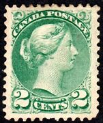 Canada Small Queens - Well Centered 2 Cent Green - Scott 36 - Mh F/vf