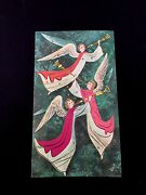 Unused Dorothy Simmons Xmas Greeting Card Lovely Angels Playing Medieval Trumpet