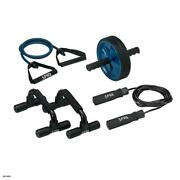 Home Gym Kit Includes Jump Rope, Push-up Bars, Ab Wheel And Medium Resistan