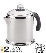 Vintage Camping Stove Top Percolator Coffee Maker Pot Stainless Steel Heavy Duty