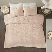 100 Cotton Chenille Duvet Cover And One Pillow Sham Set Twin Blush Color