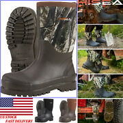 Hisea Men And Women's Neoprene Rubber Boots Mid-calf Insulated Muck Working Boots