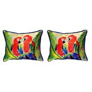 Pair Of Betsy Drake Two Parrots Small Pillows 11 Inch X 14 Inch