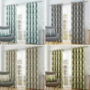 Woodland Trees Eyelet Curtains Cotton Ready Made Lined Ring Top Curtain Pairs
