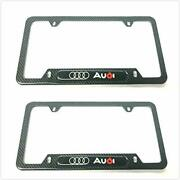 Carbon Fiber License Plate Tag Frame Cover Stainless Steel Screws Caps For Audi
