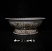 9 Old China Red Glaze In Yuan Dynasty Unicorn Pattern Tall Feet Plate