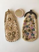 2 Reproduction Victorian Silk Beaded Purses With Small Hand Mirror