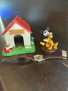 Disneyana 1998 Mickey Mouse And Pluto Dog House Figurines Watch Limited Edition