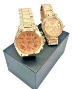 Contena By Geneva Luxury Rose Gold Watches For Women Stainless Steel - Set Of 2