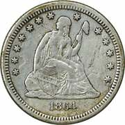 1864-s Liberty Seated Silver Quarter Vf Uncertified