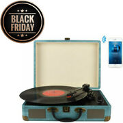 Record Player Vintage 3-speed Bluetooth Vinyl Turntable Belt Driven Suitcase