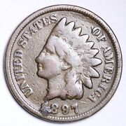 1897 1 In The Neck Indian Head Small Cent Choice Vg+ Free Shipping E106 Ac