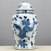Chinese Oriental Porcelain Blue And White Dragon And Flowers Motif Ginger Jar Foo
