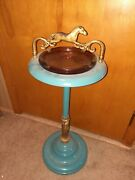 Vintage Standing Smoke Stand Ashtray Metal Horse Decorated 28in Tall 11in Wide