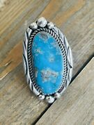 Tony Yazzie Kingman Turquoise And Sterling Silver Adjustable Ring Size 8.5 Signed