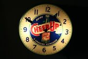 1950and039s Cheer-up Soda Light-up Advertising Glass Clock