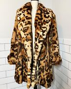Vintage Rabbit Fur Dyed Leopard Print Coat - Made In Italy Large