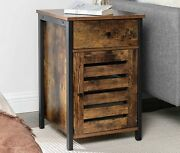 Tall Industrial Cabinet Vintage Rustic Style Side Table Bedside Cupboard Unit