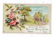 Old Trade Card Mclean Brothers Dry And Fancy Goods Danbury Ct Farmers Hay Wagon