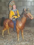 Vintage Hard Plastic Marked Hong Kong 201 Toy Indian And Horse