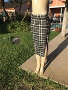 Zang Toi Cashmere Plaid Belted Details Long Skirt Sz 2 Nwt 3300 Made In Ny Usa