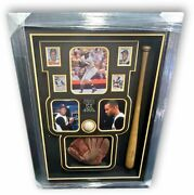 Roberto Clemente Custom Framed Signed Baseball With Glove And Bat With Ga Letter