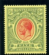 Montserrat 1914 Kgv 5s Red And Green/yellow Mlh. Sg 48. Sc 42.