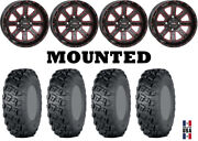 Kit 4 Itp Versa Cross Tires 35x10-20 On System 3 St-4 Red Wheels Can