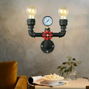 Retro 2-light Water Pipe Wall Light Fixture Farmhouse Steampunk Wall Sconce Lamp