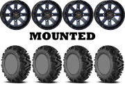 Kit 4 Efx Motomtc Tires 34x10-20 On System 3 St-4 Blue Wheels Can