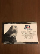 2005 S Us Mint Silver Proof Set W/ State Silver Quarters-90-silver 5 Coins