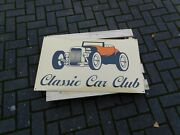 Vintage Classic Car Club Enamel Porcelain Sign // Great Gift For Hot Rod Car Fan