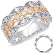 Wide .66ct Diamond 14kt White And Rose Gold 3d Multi Row Infinity Anniversary Ring