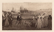 Excellent 1800s George Henry Boughton Antique Print Road To Camelot Framed Coa