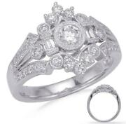 Wide .75ct Diamond 14kt White Gold 3d Round And Baguette Open Filigree Crown Ring