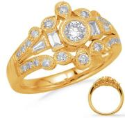 Wide .68ct Diamond 14kt Yellow Gold 3d Round And Baguette Open Filigree Crown Ring