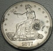 1877-s Trade Dollar W/ Chop Marks-about Uncirculated, Details-free Us Ship-au