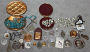 Vintage Lot Of Religious Catholic Medals/relics/mother Of Pearl Rosary/italy