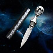 Tactical Handmade Damascus Ghost Head Knife Tea Needle Gift Knives Free Shipping